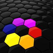 3d kolorowe sześciokątne puzzli — Zdjęcie stockowe
