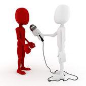 3d man reporter - interview — Stock Photo