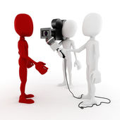 3d man reporter - interview — Stock Photo