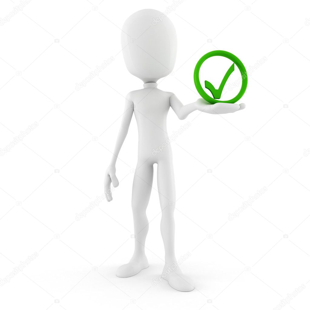 3d man and approved icon — Stock Photo #9977688