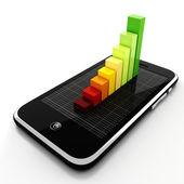 Teléfono inteligente 3d y gráfico, concepto de negocio en línea — Foto de Stock