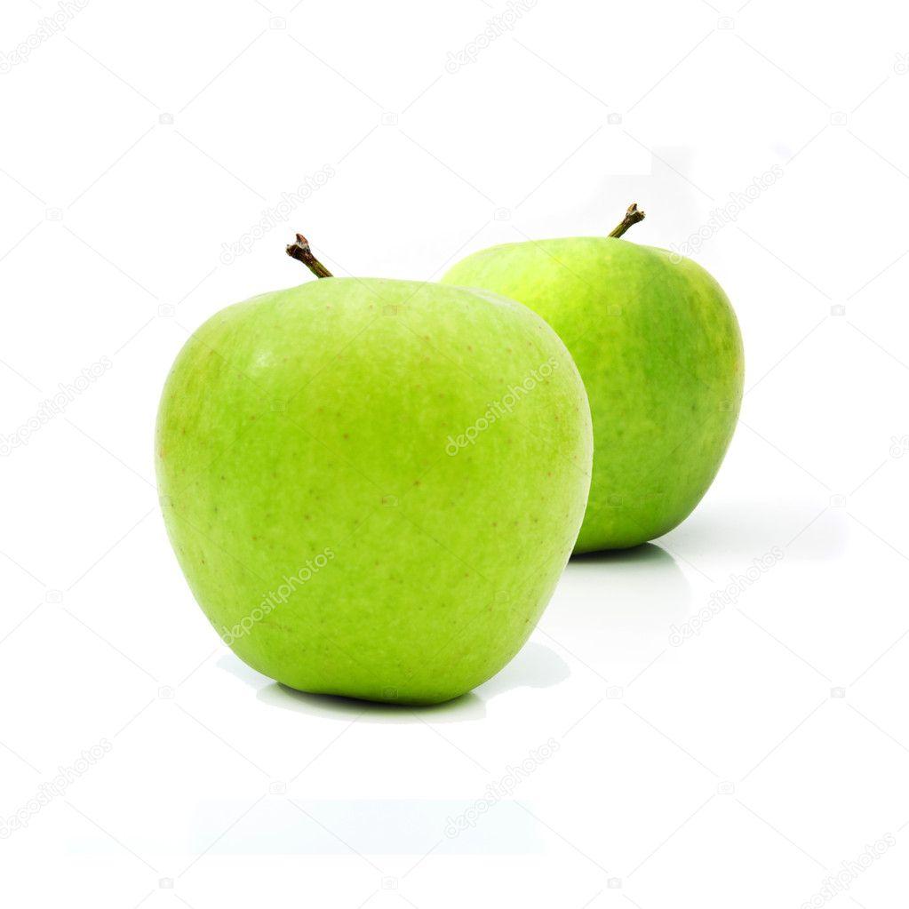 健康有机绿色苹果与柔和阴影的白色背景– 图库图片