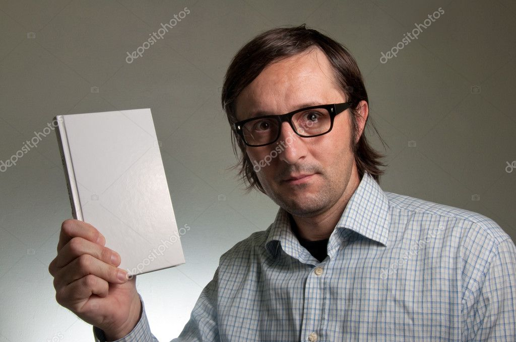 Nerd male holding a book with empty white covers, this image is a humorous concept photo. — Stock Photo #8613671