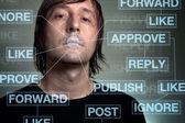 Adicción a la red social — Foto de Stock