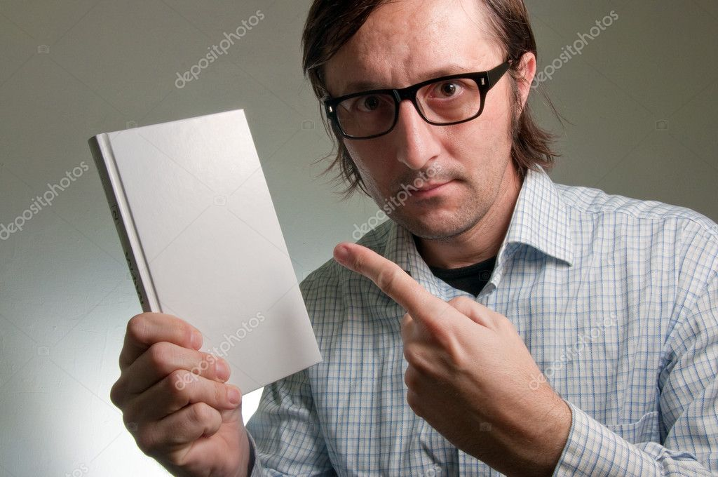 Nerd male holding a book with empty white covers, this image is a humorous concept photo. — Stock Photo #9523995