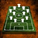 3D dziedzinie piłki nożnej, piłka nożna — Zdjęcie stockowe