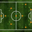 Football or soccer field and team formation - Stock Photo