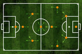 Football or soccer field and team formation — Stock Photo