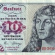 Stock Photo: Banknotes in 10 DM 1963. with portrait of young mbased on eponymous painting by Durer