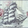 Detail of bank notes in 10 DM 1963. with the image of the ship «Gorch Fock II» - Stock Photo