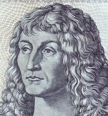 Detail of bank notes in 10 DM 1963. with a portrait of a young man based on the eponymous painting by Durer — Stock Photo