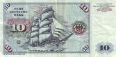 Detail of bank notes in 10 DM 1963. with the image of the ship «Gorch Fock II» — Stock Photo