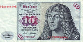 Banknotes in 10 DM 1963. with a portrait of a young man based on the eponymous painting by Durer — Stock Photo