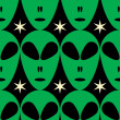 Seamless Alien Head Background - Stock Vector