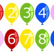 Set of Numbered Birthday Balloons - Stock Vector