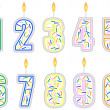 Set of Numbered Birthday Candles - Stock Vector