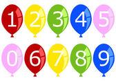 Set van genummerde verjaardagsballons — Stockvector