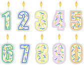 Set of Numbered Birthday Candles — Stock Vector