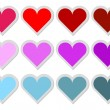 Stock Vector: Set of 12 Heart Stickers