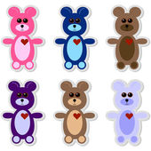 Set of 6 Teddy Bear Stickers — Stock Vector