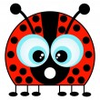 A Cartoon Ladybug Isolated on White — Stock Vector