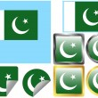 Stock Vector: Flag Set Pakistan