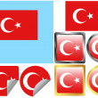 Stock Vector: Flag Set Turkey