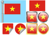 Flag Set Vietnam — Stock Vector