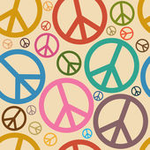 Seamless Retro Peace Symbol Background — Stock Vector