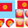 Flag Set Kyrgyzstan — Stock Vector