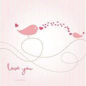 Love card with birds — Stock Vector