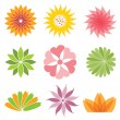 Set of flower icon — Stock Vector