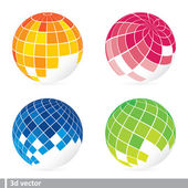 Set of abstract mosaic 3d vector — Stock Vector