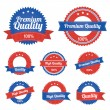 Premium Quality Labels in blue in red color — Stockvektor