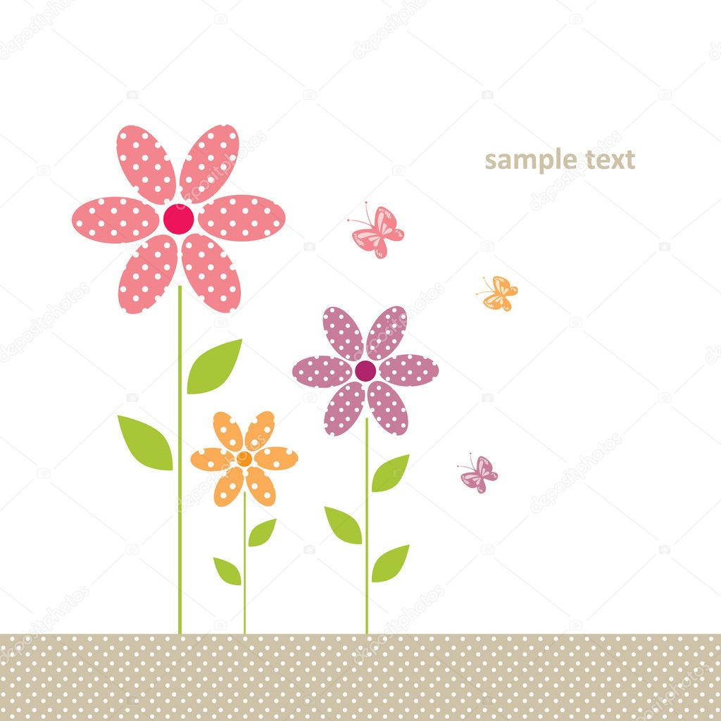 Cute greeting card with flower and butterfly — Stock Vector #9578382