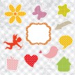 Set of cute vintage elements - Stock Vector