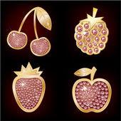 Icone della frutta — Vettoriale Stock