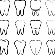 Set of the stabilized teeth on a white background. — Vettoriali Stock