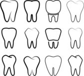 Instellen van de gestabiliseerde tanden op een witte achtergrond. — Stockvector