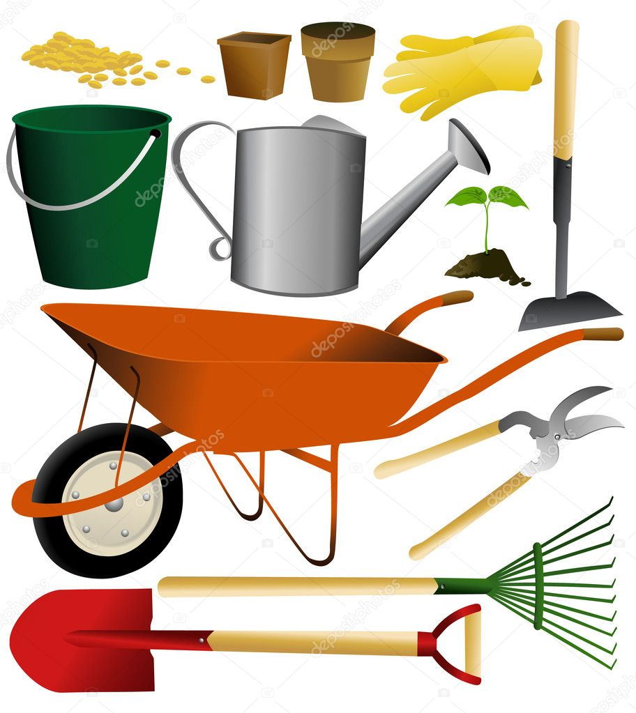 Set of simple garden tools - vector illustration — Stock Vector #10566055