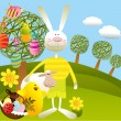 Cartoon Easter background — Stock Vector