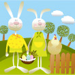 Cartoon Easter background - Stok Vektör