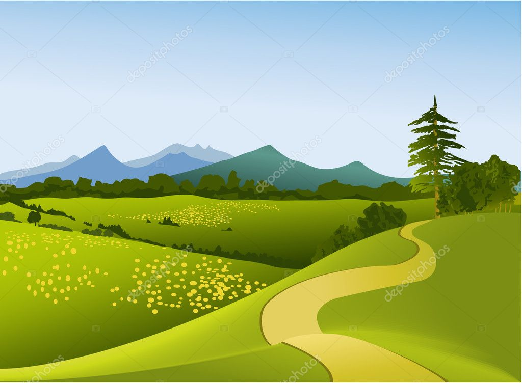 Fascinating mountains vector pictures