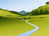 Mountain landscape with river — Stock Vector
