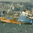 Wrecked ship in Istanbul - Stock Photo