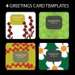 Stock Vector: 4 Greeting Cards Templates