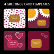4 Greetring Card Templates for Valentines day — Grafika wektorowa