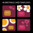 4 Greeting Cards: Valentines Day — Stock Vector
