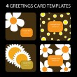 4 Greeting Cards: Sunflowers — Imagen vectorial