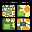 4 Greeting Cards Templates — Stok Vektör